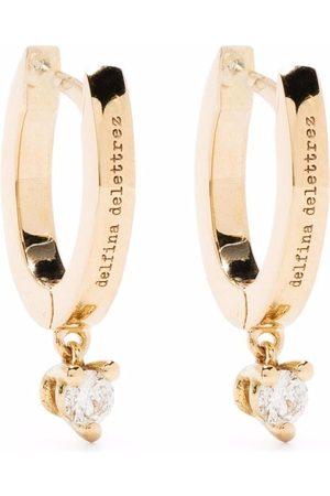 DELFINA DELETTREZ 18kt yellow huggie hoop diamond drop earrings