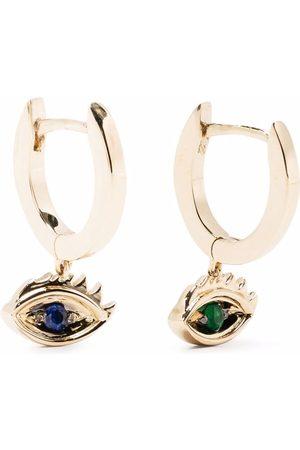 DELFINA DELETTREZ 9kt yellow Micro-Eye Piercing emerald and sapphire earrings