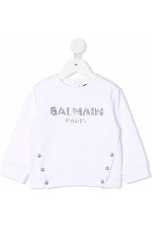 Balmain Engraved-button sequin logo sweatshirt
