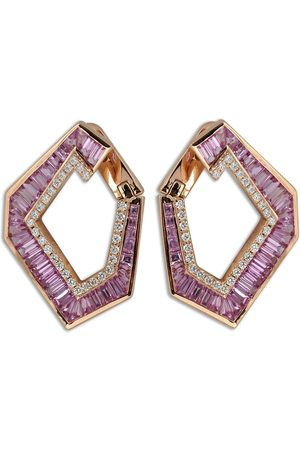 Kavant & Sharart 18kt rose gold Large Origami Link no.5 sapphire and diamond earrings