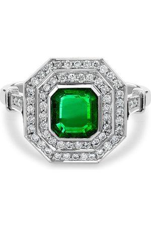 Pragnell Vintage Platinum emerald and diamond target ring