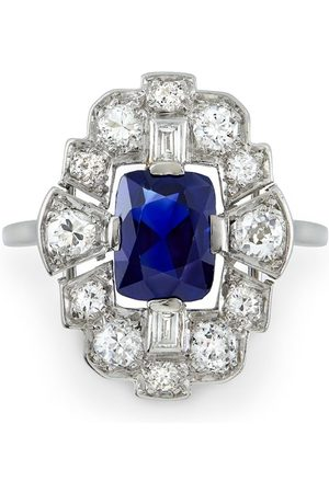 Pragnell Platinum Art Deco sapphire and dimond plaque ring