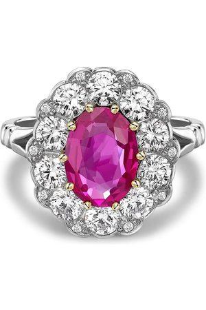 Pragnell Platinum Contemporary Burmese pink sapphire and diamond ring