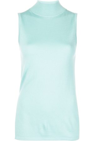 LAPOINTE Women Tank Tops - Mock-neck sleeveless knitted top