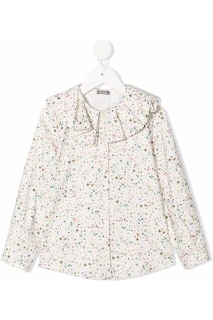 Il gufo Girls Blouses - Floral ruffle blouse