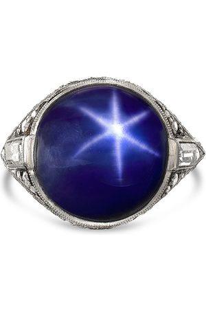 Pragnell Women Platinum Art Deco cabochon sapphire and diamond ring