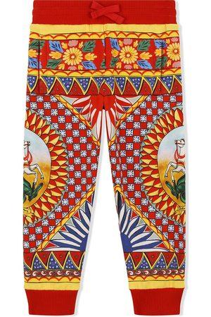 Dolce & Gabbana Kids Girls Trousers - Carretto-print track trousers