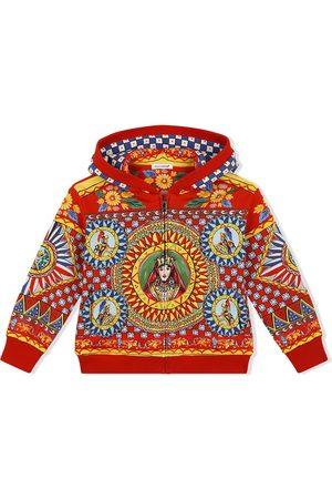 Dolce & Gabbana Girls Hoodies - Carretto-print zipped cotton hoodie