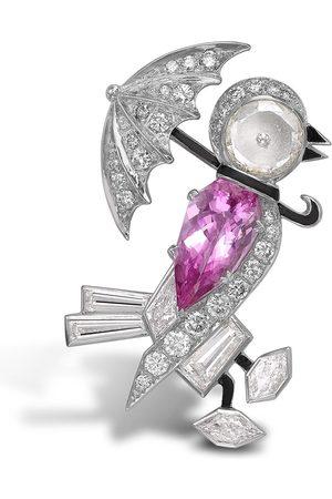 Pragnell Women Brooches - 18kt white gold pink topaz and diamond bird brooch