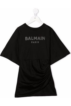 Balmain Girls Printed Dresses - Logo-print T-shirt dress