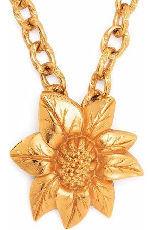 Lanvin 1980s flower pendant chain necklace