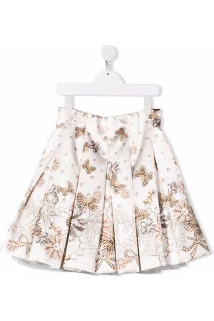 MONNALISA Box-pleat embellishment-print skirt