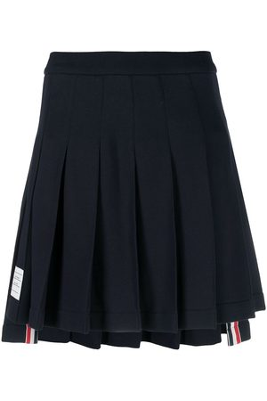 Thom Browne Women Pleated Skirts - Logo patch pleated short skirt