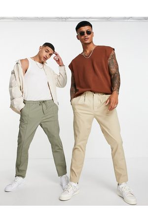 ASOS Men Chinos - Cigarette chinos with pleats in -Neutral