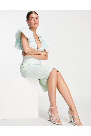ASOS Women Pencil Dresses - Poplin mix ruched pencil midi dress in mint