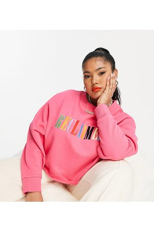 Reclaimed Vintage Women Sweatshirts - Inspired plus relaxed sweatshirt with rainbow embroidery in
