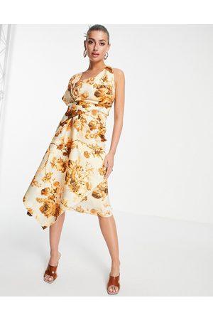 ASOS Women Printed Dresses - Bare shoulder pencil midi dress in floral print-Multi