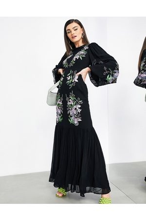 ASOS Women Printed Dresses - Floral embroidered tiered maxi dress in