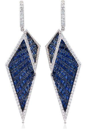 Kavant & Sharart 18kt white gold Origami diamond and sapphire earrings