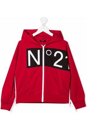Nº21 Logo-print zip-fastening hoodie