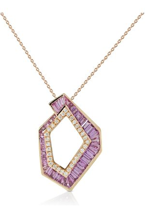 Kavant & Sharart 18kt rose gold Origami Link no.5 diamond and sapphire pendant necklace