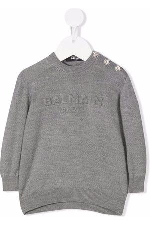 Balmain Logo-embossed wool jumper