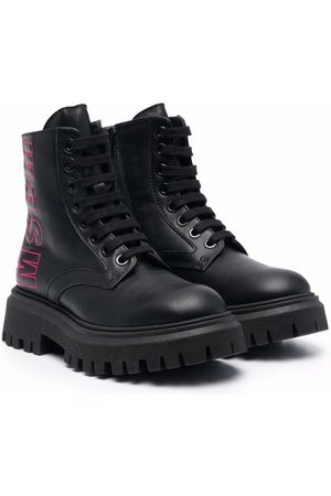 Msgm Logo-embroidered leather boots