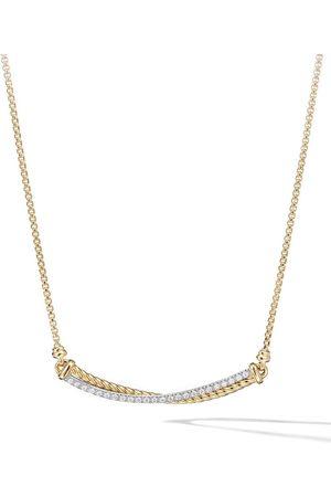 David Yurman 18kt yellow Crossover Bar diamond necklace