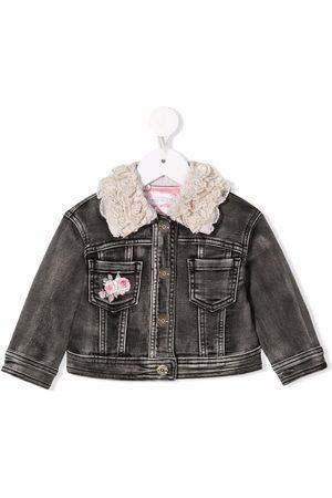 Monnalisa Girls Bomber Jackets - Floral-embroidered denim jacket