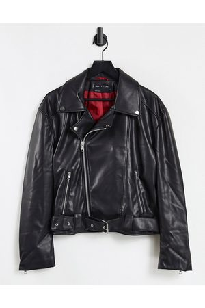ASOS Faux leather cropped biker jacket with belt