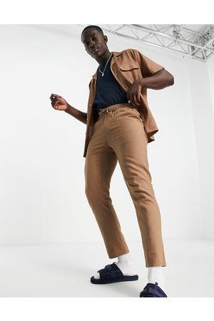 ASOS Co-ord linen mix slim trousers with elasticated waist in