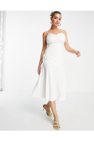ASOS Cami cowl linen mix asymmetric ruched maxi dress in ivory