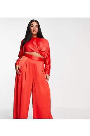 ASOS Curve co-ord wide leg trouser with pleat front in
