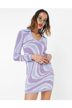 ASOS DESIGN Knitted mini dress with open collar in swirl pattern