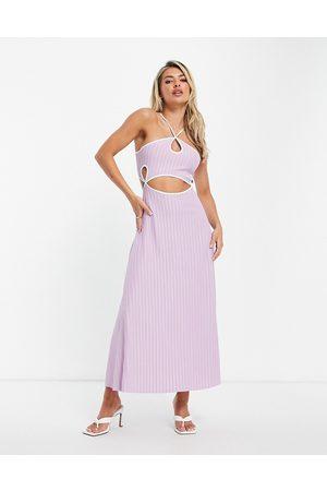 ASOS Women Casual Dresses - Halter cut out contrast binding rib midi dress in lilac