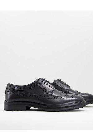 ASOS DESIGN Brogue shoes in leather with chunky sole