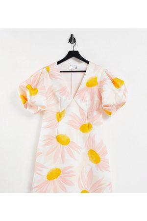 ASOS ASOS DESIGN Curve plunge puff sleeve aline mini dress in oversized floral print-Multi