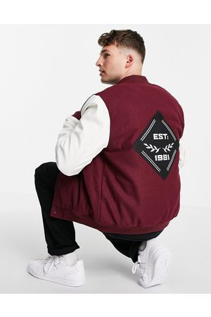 ASOS Varsity bomber jacket with faux leather sleeves in and white