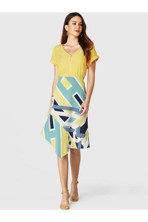YOINS Women Printed Skirts - Color Block Geometrical Print Irregular Hem Skirt
