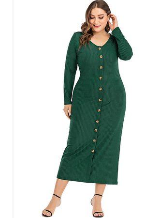 YOINS Plus Size Button Design V-neck Long Sleeves Dress