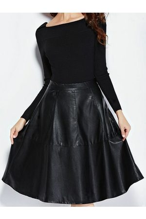 YOINS Leather Look A-Line Midi Skirt