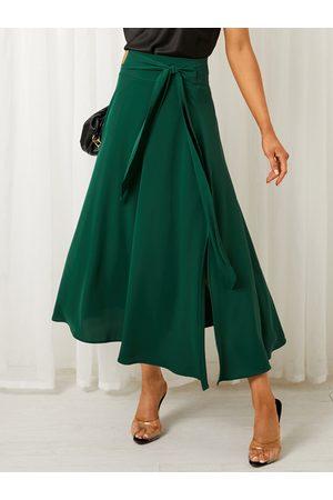 YOINS Tie-up Design Zip Back Maxi Skirt
