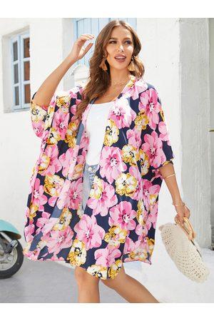 YOINS Random Floral Print Half Sleeves Kimono