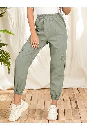 YOINS Women Cargo Pants - Casual Side Pocket Elastic Waist Cargo Pants