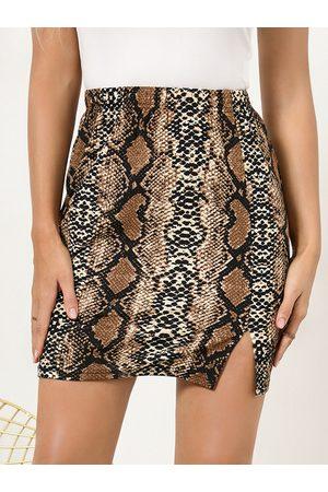 YOINS Women Mini Skirts - Snakeskin Slit Hem Mini Skirt