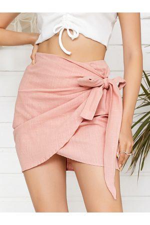 YOINS Self-Tie Design Wrap Hem Mini Skirt