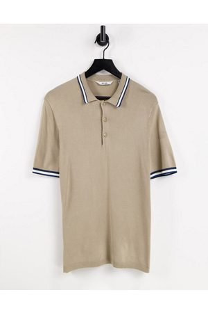 Only & Sons Men Polo Shirts - Knitted polo shirt with tipping in -Neutral