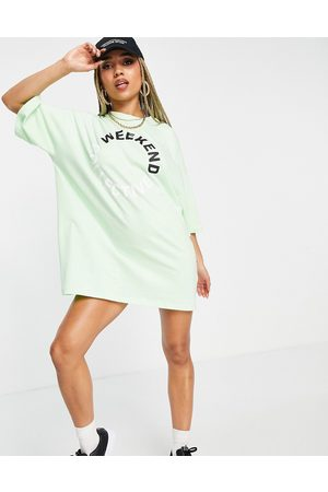 ASOS Weekend Collective Oversized t-shirt dress with coloured logo in lime