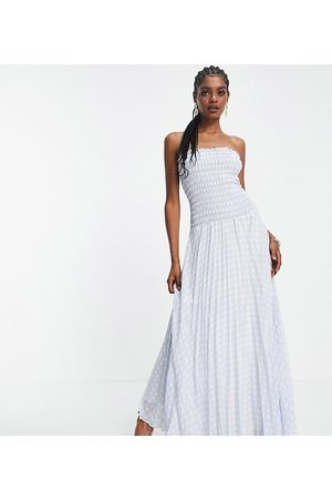 ASOS Tall ASOS DESIGN Tall pleated bandeau maxi dress in blue white gingham-Multi