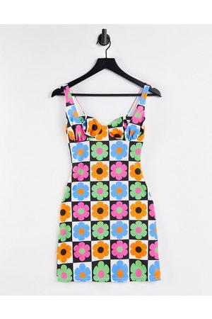 ASOS Women Casual Dresses - Mini cup detail sundress in retro floral tile print-Multi